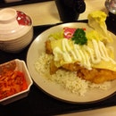 Fried Fish with Cheese and Mayo on Rice