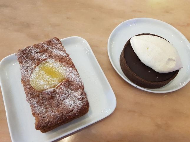 Sea Salt Chocolate Tart With Baileys Cream & Raspberry Cake With Lemon Curd ($12)