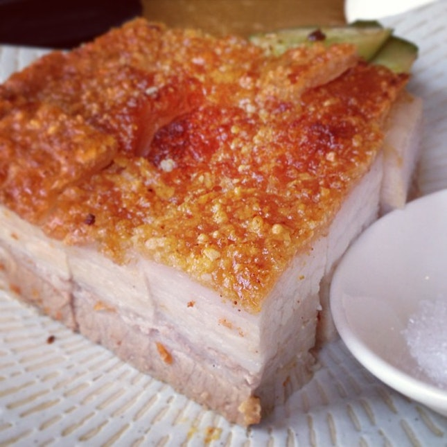 Beautiful roasted pork belly, with succulent meat beneath crackly, crunchy skin.