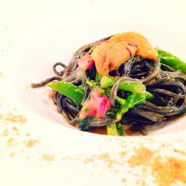 Squid Ink Tagliolini with Uni, Broccolini & Bottarga