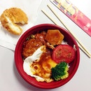 Hamburger Bento & Cheese Croquette