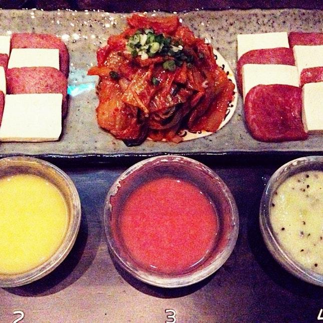 Warm Kimchi, Tofu and Spam, and Makgeolli Sampler