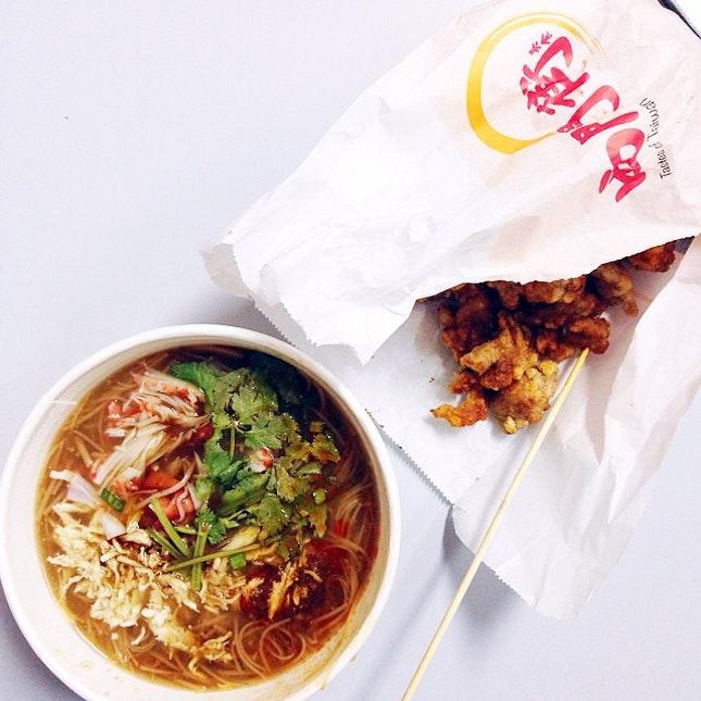 Crabstick Mee Sua, Fried Chicken
