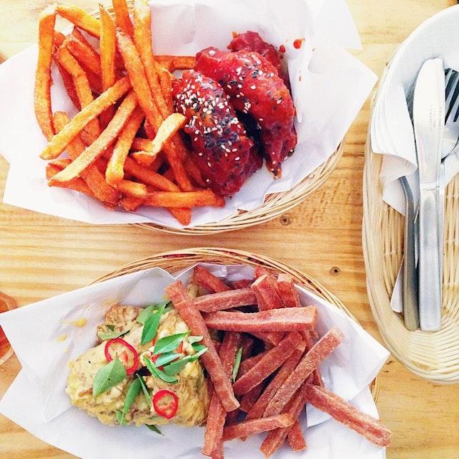 Yangnyeom Wings & Sweet Potato Fries, Salted Egg Wings & Spam Fries