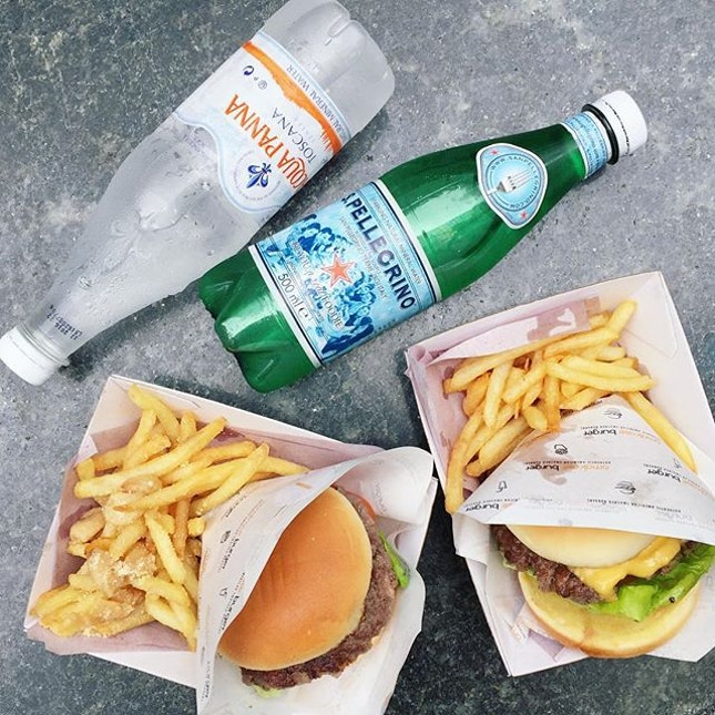 OFC Port Wine & Blue Cheese Burger with Garlic Parmesan Fries, OFC Chicken Burger with Black Truffle Fries.