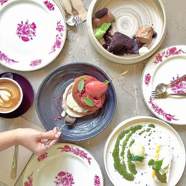 Hot & Cold Chocolate Cake with Chocolate Sorbet & Mint; Buttermilk Pancake with Crème Patisserie, Poached Strawberries & Ice Cream; Lemon Tart with Basil Ice Cream.