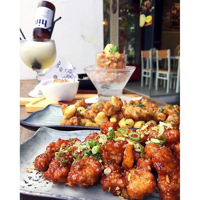 Dak Kang Jung, Honey Butter Chick, Seafood Ceviche & Tofu Chips, Sour Plum Sojurita