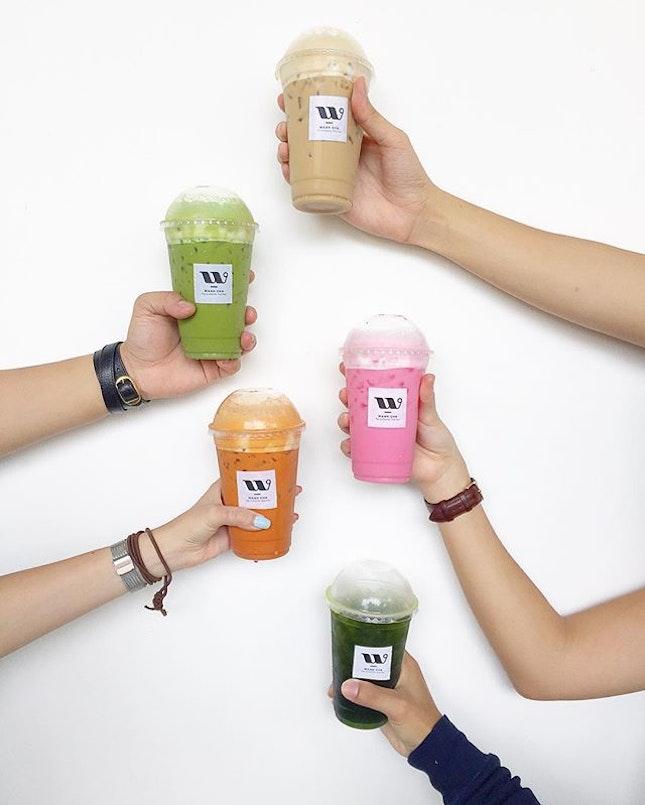 Thai White Coffee, Thai Milk Green Tea, Thai Pink Milk, Thai Milk Tea, Lime Green Tea