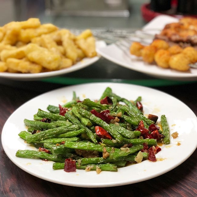 Sichuan Dry-fried Long Beans with Pork, Salted Egg Pumpkin, Sichuan Spiced Quail Egg, Beef and Chicken Wing Skewers.