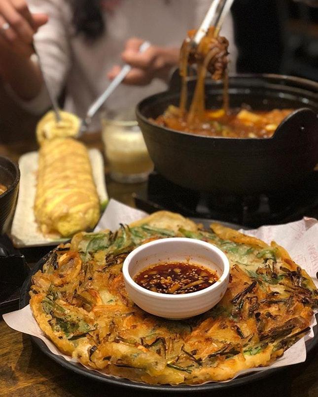 Squid & Leek Pancake, Honey Mustard Cheese Egg Roll, Double Beef Rib Stew