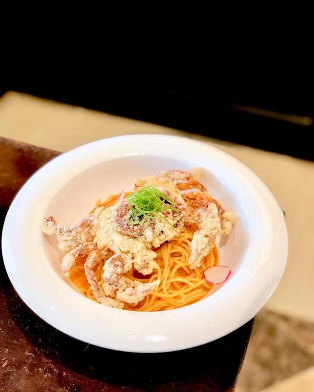 Chilli Soft-Shell Crab Pasta; Chicken Satay Burger.