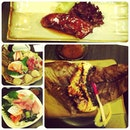 Pan-fried foie gras, toro, salmon belly sashimis, cod fish.