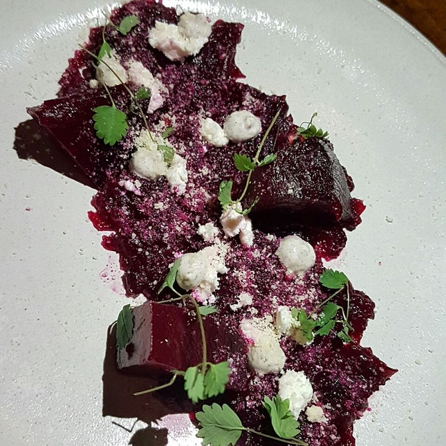 Beetroot W Sumac Yoghurt, Spiced Ponzu & Almonds