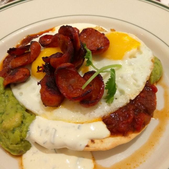 Huevos rancheros with Chorizo