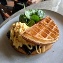 Waffles With Bak Kwa And Scrambled Eggs