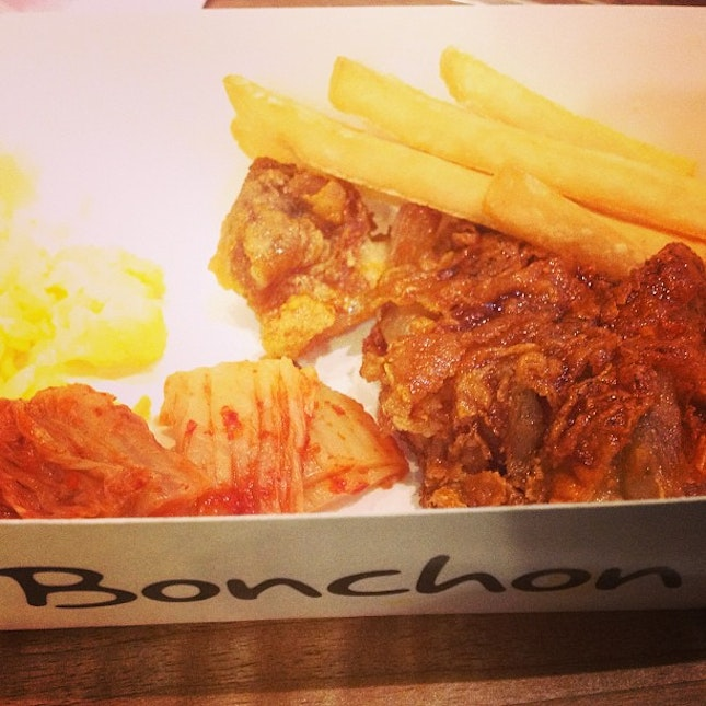 Not quite good as they said.😪 #lunch #bonchon #chicken #fries #kimchi #instafood #foodie #foodgasm #instadaily #instafamous