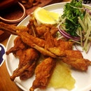 Dusted Frog Legs, Apple Jam & Slaw