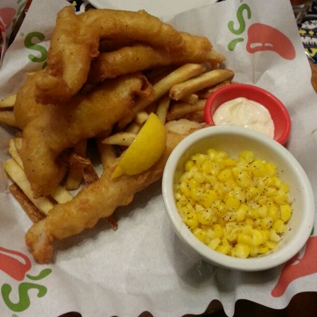 Fish & Chips With Corn On The Cob