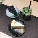 Honey Earl Grey Cake, Goma Cake & Matcha latte