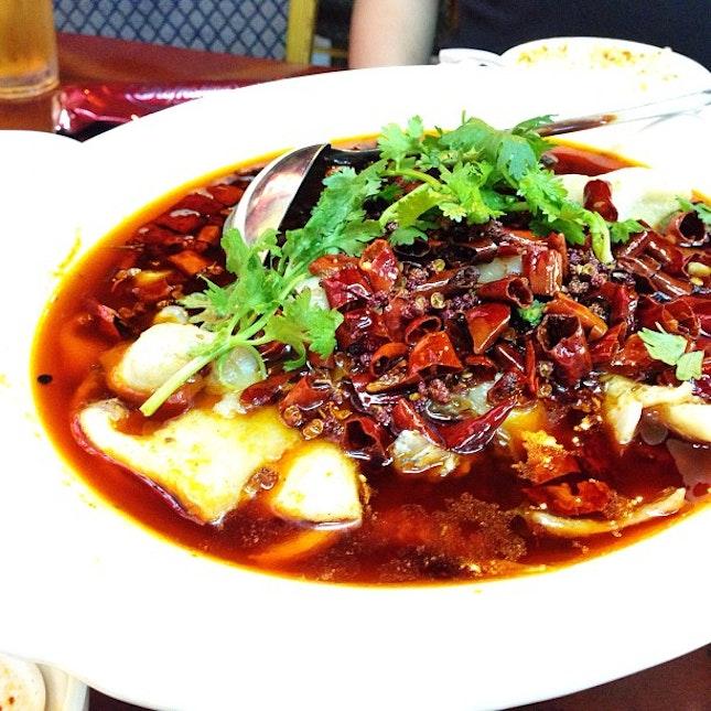 水煮鱼 - Fish slices cooled in Sze Chuan spices and chili oil.