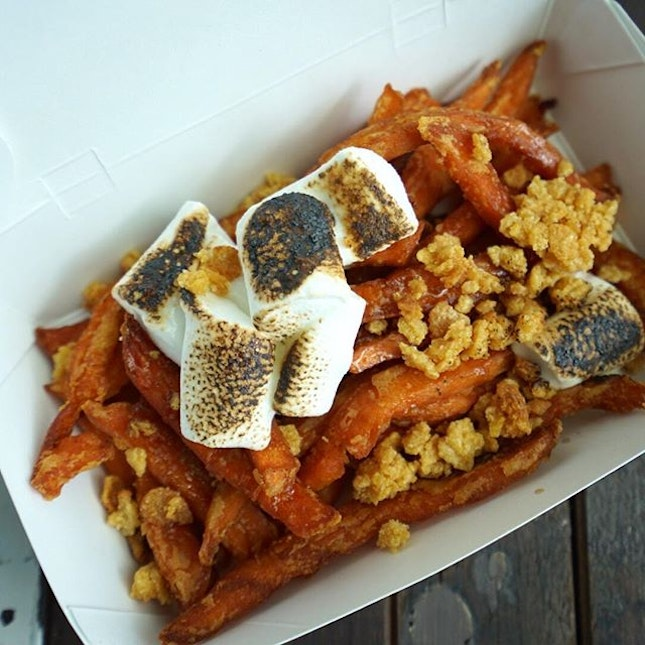 S'mores fries - sweet potato fries, toasted marshmallows, corn flakes drizzled with maple syrup.