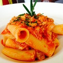 Pork ragu ragotini, im strange like that - i dont eat penne but i eat thick penne.