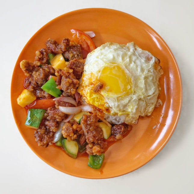 Sweet & Sour Pork Rice w/ Egg $6.2