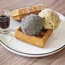 Hazelnut Cookie Dough / Black Sesame Ice Cream w/ Signature Waffle