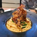 [ICON VILLAGE] Salted egg soft shell crab pasta...