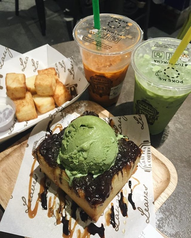 Finally had the chance to try the #shibuyatoast from @tuktukcha 😋 devoured it with in minutes because we simply loved the crisp toast x matcha ice cream and azuki beans combo.