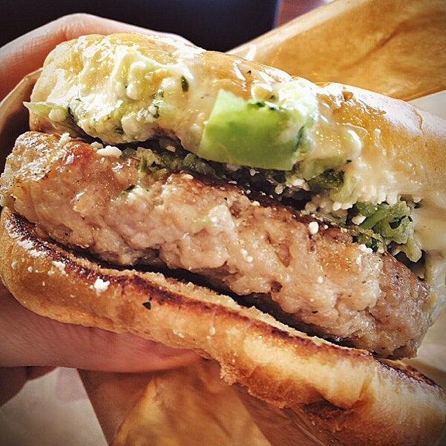 Super juicy ground #porkbelly #burger for #lunch .