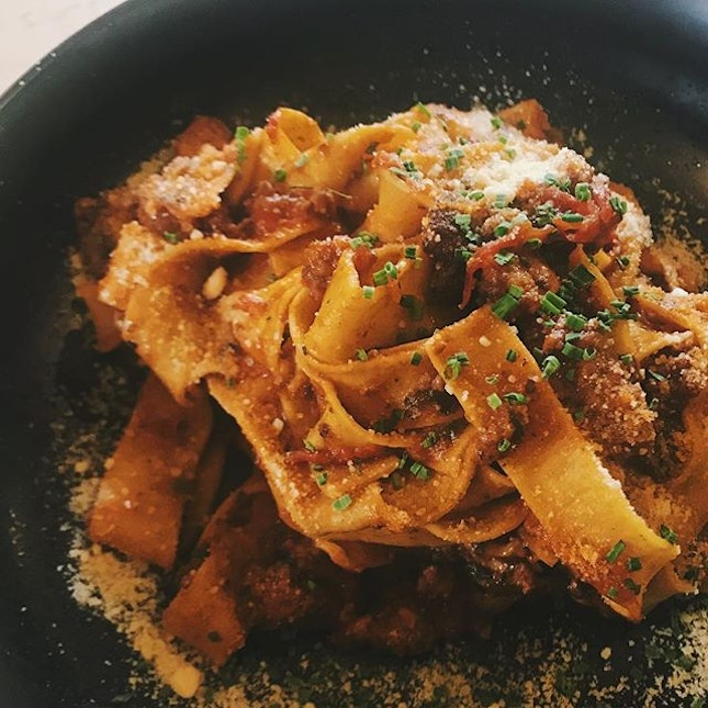 Absolutely in love with the homemade tagliatelle bolognese @openfarmcommunity 😍 #thatTexture with #thatFlavour = #Heavenly
