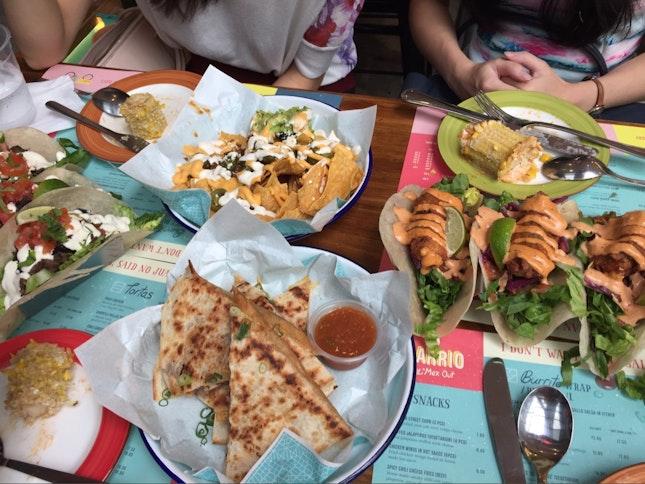 Nachos, Fish Tacos, Carne Asada Tacos And Quesadillas