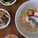 Golden Poached Rice with Seafood in Prawn Broth ($17.90++)