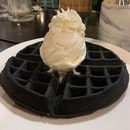Charcoal Waffles With Vanilla Ice cream