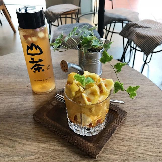 Sweet Potato Mini Waffle With Ice Cream And Iced Rose Apple Tea