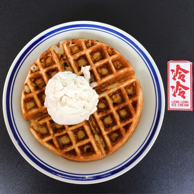 Sugee Waffle with Coconut Ice-Cream