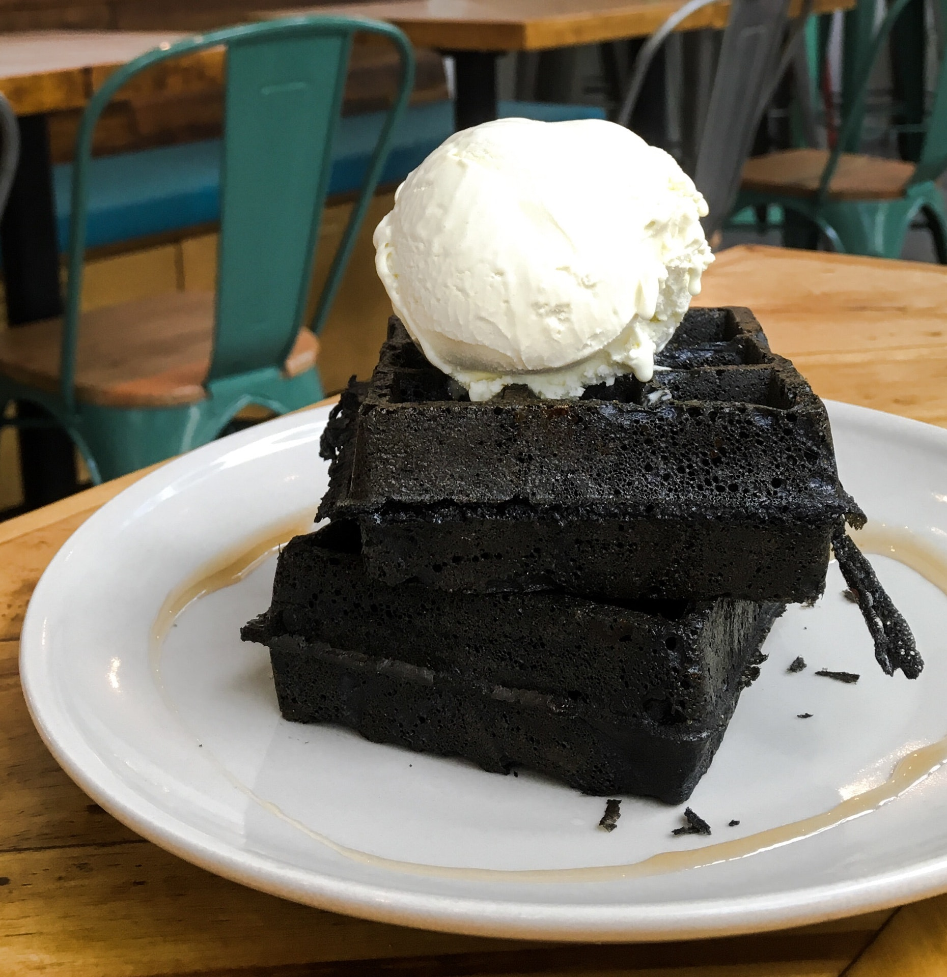 Double Charcoal Waffles with Wasabi Ice-Cream
