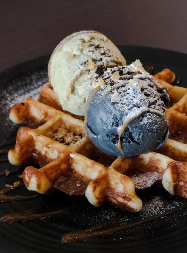 Whoaffles with Pistachio and Tofu Sesame Ice-Cream and Espresso Butterscotch Sauce