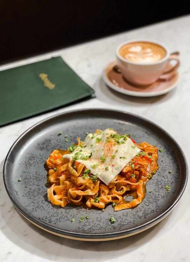 Spicy Kimchi & Tomato Pasta