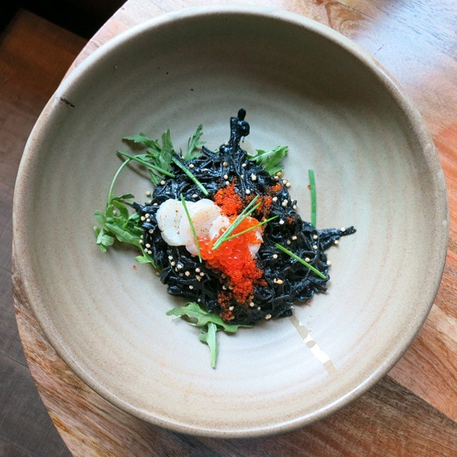 {Squid Ink Tagliatelle} It may not look appetising but looks are deceiving!