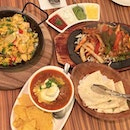 Paella with Marinated Chicken + Salmon + Tilapia, Chicken Fajitas and Braised Beef Meatballs in Spicy Chipotle & Tomato Sauce - anyone else likes a good feast like I do?