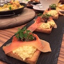 Scrambled Eggs with Salmon on toasty Toasts!
