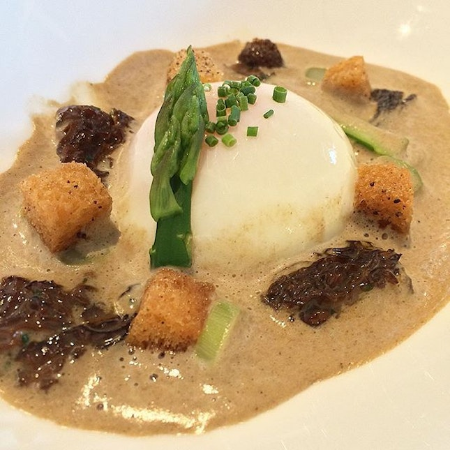 62 Degrees Farm Egg paired with Paris Mushroom Emulsion, Vin Jaune Morel, Asparagus and Noisette Croutons - it was simple yet full of flavours, a little like soup yet a little like gravy.