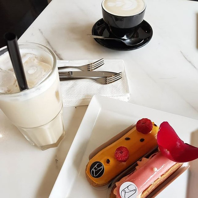 Fancy eclairs that are well worth the short walk over from Dhoby Ghaut.