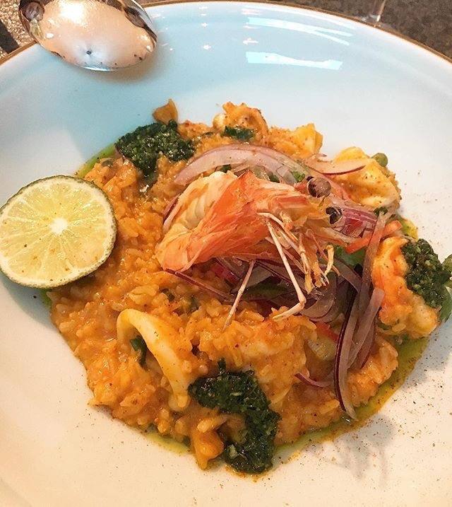 If paella has a long lost cousin, it would be this Peruvian seafood rice Arroz Con Marisco.