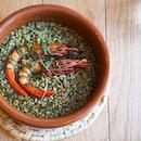 Black rice with grilled Mediterranean red prawns ($32).
