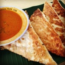 Sharing a mutton murtabak for lunch today with the colleague