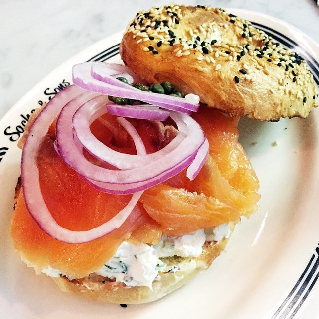 Pretty amazing smoked salmon bagel.