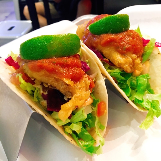 Fish Tacos ($13.40 for 2, $15.90 for 3)